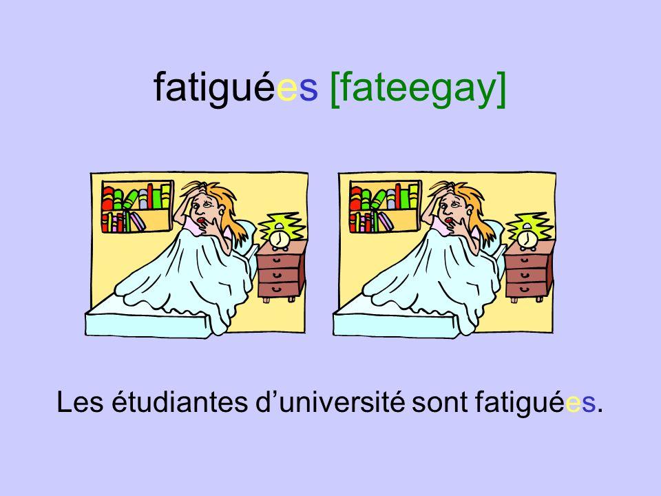 fatiguées [fateegay] Les étudiantes d'université sont fatiguées.
